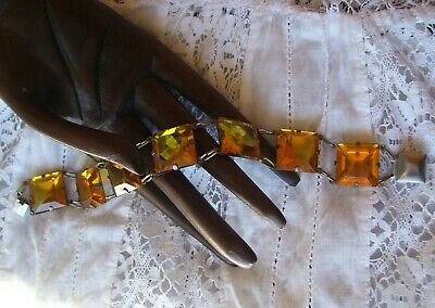 Rare Antique Art Deco Yellow Vauxhall Glass Bracelet .