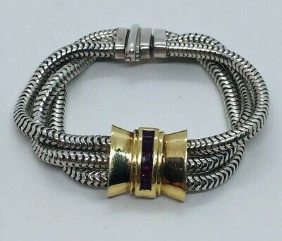 9adc75a92 Tiffany & Co. Vintage Authentic Sterling silver & 18k Yellow Gold Ruby  Bracelet