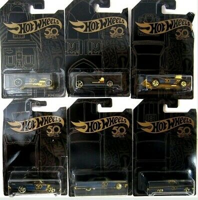 2018 Hot Wheels 50th ANNIVERSARY BLACK and GOLD ✨Complete SET of 6✰diecast cars