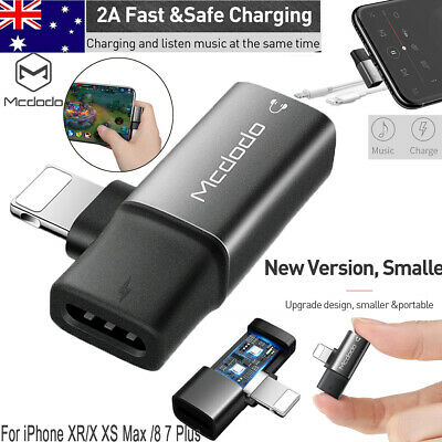 2 in 1 Dual Lightning Headphones Audio Adapter Earphone AUX Charger For iPhone