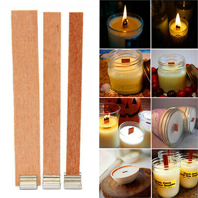 20PCS DIY Craft Core Parffin Wax Candles Wick Wooden Making Supply Sustainer Tab