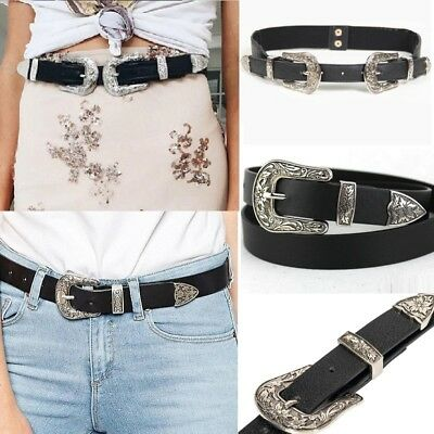Women Leather Western Cowgirl Waistband Double Metal Buckle Waist Belt Black