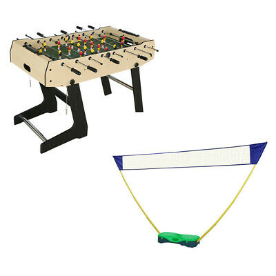 4ft Kid Game Table Foosball Soccer Table Football Sports w/ Badminton Net Set