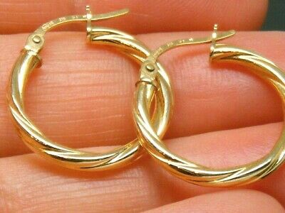 8b4f75b6f LARGE 9CT YELLOW +White Gold Creole Hoop Earrings 2.1 Grams 28mm ...