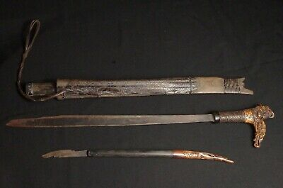 Antique Dayak Sword + knife - Mandau - Borneo, Indonesia (no keris, no kris)