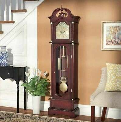 Astoria Grand 182cm Grandfather Clock Red Wood Tempered glass Single chime