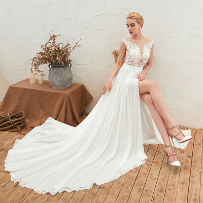 Simple Side Split Beach Wedding Dresses Sleeveless Chiffon Boho Bridal Gowns