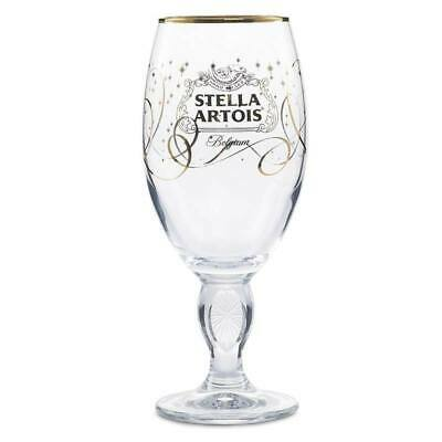 Stella Artois Limited Edition Holiday Chalice Belgium Gold Stars Beer Goblet
