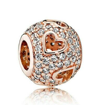 2ab7b7152 Sterling Silver Rose Gold Tumbling Hearts Charms Pave Crystals Clear CZ  Charm