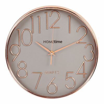 Hometime Round Plastic Wall Clock Rose Gold Raised Numbers 30cm