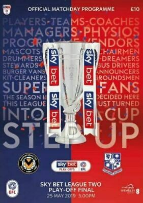 Newport County v Tranmere Rovers 2019 Sky Bet League 2 Play-Off Final Programme