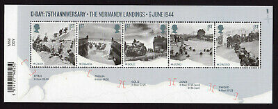 2019 D-DAY 75th ANNIVERSARY Normandy Landings Mini Sheet WITH BARCODE MARGIN