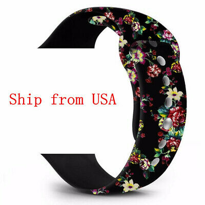 Chinese Rose Floral Flower Silicone Loop Belt watchband for iWatch 123 series U
