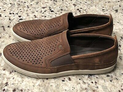 5daf91f4 ECCO COLLIN GREY Perforated mens Leather Slip On Shoes 11-11.5 45 ...