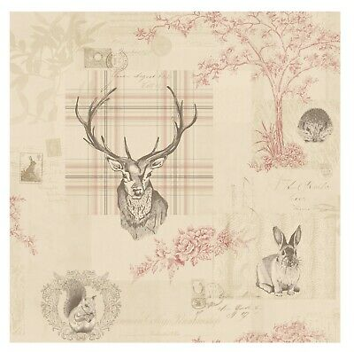Arthouse VIP Woodland Stag Deer Tree Beige Natural Cream Typography Wallpaper