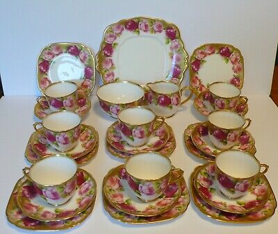Set for 8 Royal Albert Old English Rose Coffee / Tea Set Cups & Saucers Plates