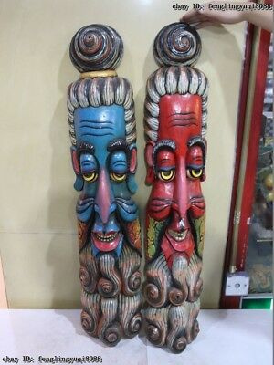 Old China Wood Carved Colored Hand Painting Taoism  Buddha God Statue Mask Pair