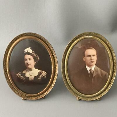 Antique Shabby Vtg Chic Embossed Brass Metal ? & Convex Glass Picture Frame Pair