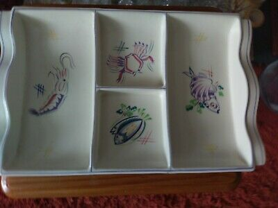 Vintage Poole Pottery Serving / Hors d'Oeuvre Sectioned Tray