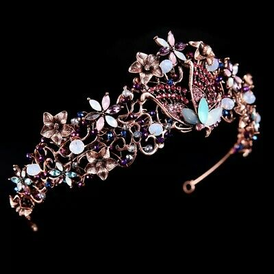 pink butterfly vintage tiara diamante prom bridemaid bridal nature party UK