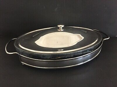 Vtg Mid Century Modern Minimalist Silverplate Covered Serving Dish PM Italy
