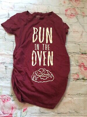 6ca70e330d062 Motherhood Maternity T Shirt Bun In The Oven Side Ruching Size Xs Red Pink