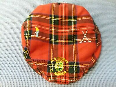0f187727832f2 Vintage Old Course St Andrews Mens Dress Red Watch Plaid Golf Hat Scotland