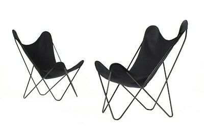 Vintage Mid Century BFK Hardoy Iron Butterfly Chairs for Knoll - Black canvas