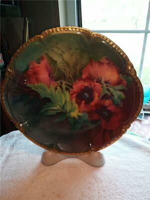 """13"""" Haviland Limoges France Hand Painted Charger Plate Flowers Signed /Stamped"""