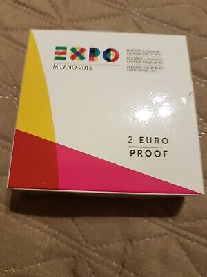 xFe 2 EURO COMMEMORATIVO 2015 ITALIA EXPO MILANO FS PROOF PP IN COFANETTO