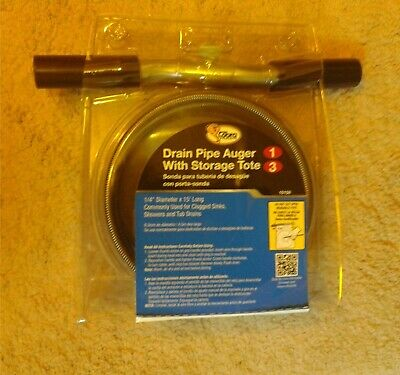 COBRA DRAIN PIPE AUGER Coiled Wire Cable 1 1/4 Ft. by 15 Ft. long with Tote