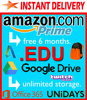 Student Email Edu Email Account INSTANT DELIVERY 6M Amazon Prime Unlimited Drive