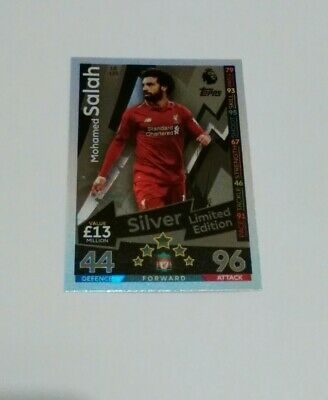 Match Attax 2018/19 Limited Edition Mohamed Salah Silver Card LE12S