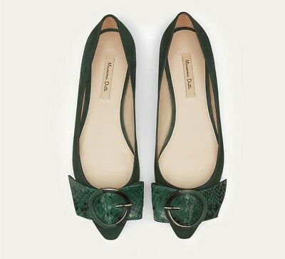 c1a7640589eb MASSIMO DUTTI GREEN POINTY BALLET FLATS BALLERINAS WITH BUCKLE shoes EU 39  US 8