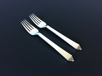 2 VTG GEORG JENSEN PYRAMID Dinner Forks Sterling Silver GREAT CONDITION 7.25 IN