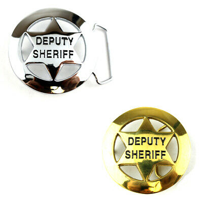 """Deputy Sheriff Star Badge Belt Buckle Nickle Plated & Solid Brass fits 1-1/2"""""""