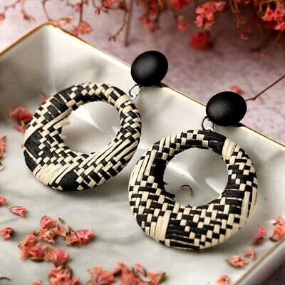 New Geometric Hollow Round  Natural Rattan Straw Wooden Pendant Hoop Earrings