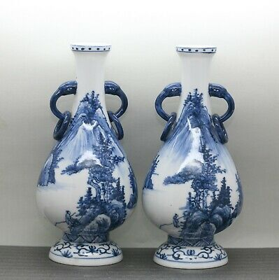 Charming Pair Of Vintage Chinese Blue & White Hand Painted Porcelain Vases
