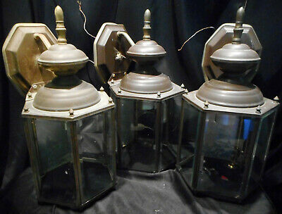 Three Matching Brass & Beveled Glass Wall Sconce Carriage Lantern Lamps