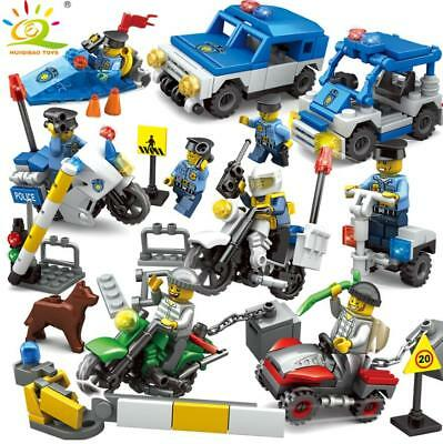 City Police Building Blocks with Action Figures Vehicle Motorcycle Toys Bricks