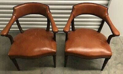 2 HICKORY CHAIR CO. Nailhead Library Chairs Local Pick Up As Is For Restore