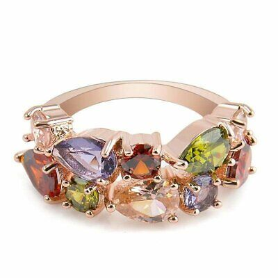 Rhinestone Ring Hypoallergenic Copper Engagement Wedding Womens - Asia Sell