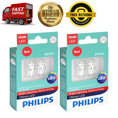 Philips 4X Red Bright LED Parking Brake Indicator Light Bulb For 65-1992 Riviera