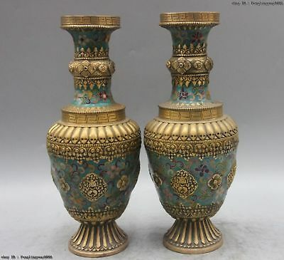 Chinese Bronze Copper Cloisonne Enamel Eight treasures Bottle Pot Vase Jar Pair