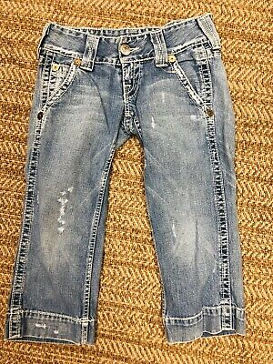 ef49ff7b8 TRUE RELIGION BLUE Jeans SAMMY BIG T CAPRI Denim Sz 30 Inseam 20 ...