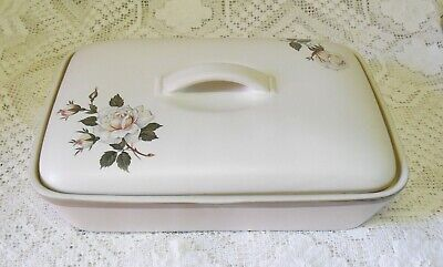 Vintage Denby Stoneware White Rose Divided Lidded Casserole Dish Made In England