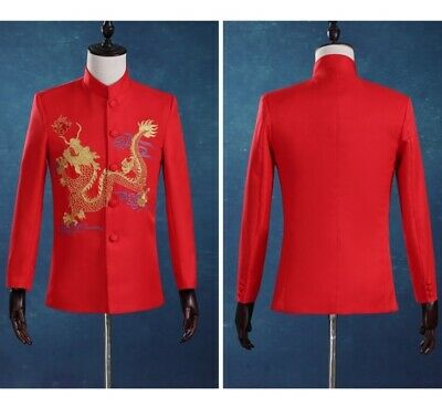 Mens Long sleeve Chinese tunic suit 2 Piece Jackets Pants Buttons Embroidery Red