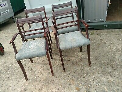 Reproduction Mahogany Style Four Matching Captains/Carver Dining/Kitchen Chairs