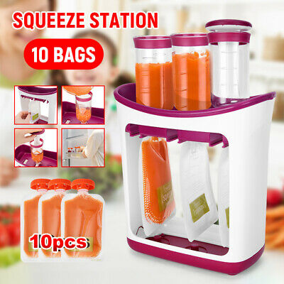 Infant Baby Feeding Food Squeeze Station Fruit Drink Maker Dispenser Storage Bag
