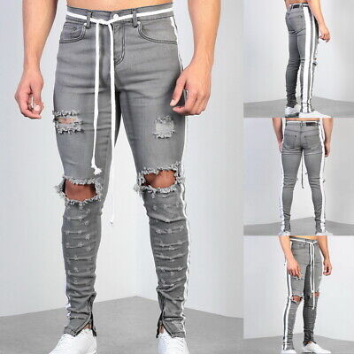 Men Skinny Ripped Jeans Slim Casual Stretch Straight Leg Denim Cotton Trousers